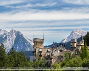 Travel decor, Castle photograph, castle and mountain wall art, travel photo, Austria, fairy tale Alps photo to frame, castle landscape