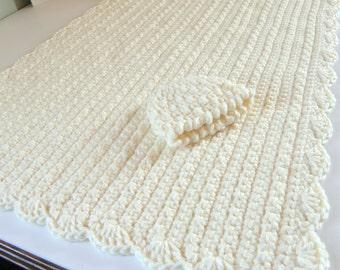 Large Baby Blanket, Crocheted Crib, Stroller, Car Seat Blanket, Baby Shower Gift, Newborn Boy or Girl Cream Bone