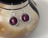 Argentium silver drop earrings with plum colored lampwork beads, Argentium wire earrings with purple glass beads, silver wire earrings
