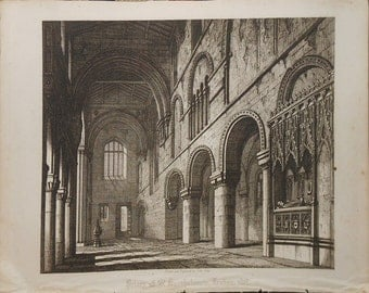 priory of st Bartholomew church  london 1818 drawn and engraved by john coney