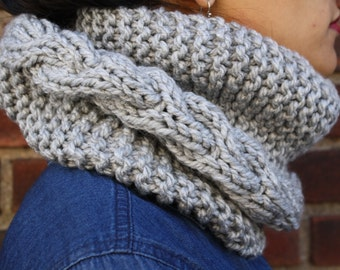 Light Gray Chunky Cowl/Infinity Scarf