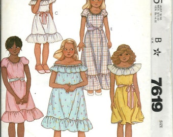 VTG McCall's 7619 Girls Off-The-Shoulder Dress Pattern, Size 7 & 10 UNCUT