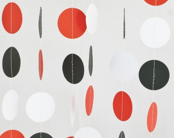 Red White and Black 10 ft Garland - Mickey / Minnie Mouse, Ladybug, Baby Shower, Party Decor, Birthday, Wedding, Bridal Shower, Baby Shower