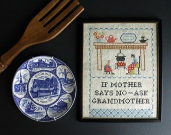 Vintage Ask Grandmother Cross Stitch Framed Wall Hanging Grandma Stitchery Decor