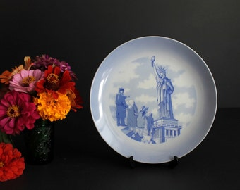Vintage Statue Of Liberty 100 Year Anniversary Commemorative Plate by World Wide Art Studio