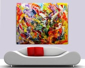 Acrylic Painting on Canvas palette knife Contemporary colors.