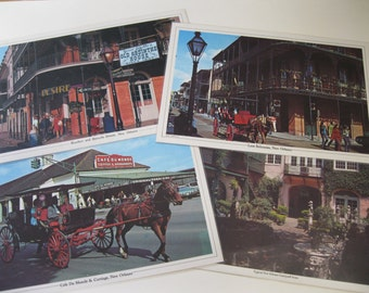 """New Orleans Scenic Placemats, assortment of four, laminated 17.5 X 11.5"""", Bourbon and Bienville Streets, Cafe Du Monde, balconies, courtyard"""