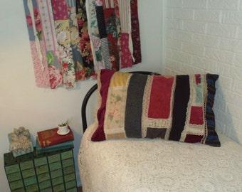 Romantic Bohemian pillow case-lace velvet vintage fabrics shabby chic