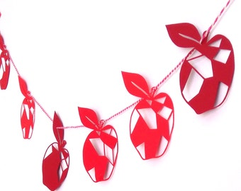 Apple Paper Garland - Red Apple Garland - Apple Day Garland - Harvest Decor - Thanksgiving Decor - Fruit Garland - Paper Bunting