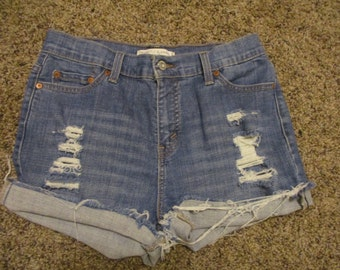 "LEVIS Cut off Jean Shorts size 32 rolled cut offs 32"" waist high waisted grunge levi's"
