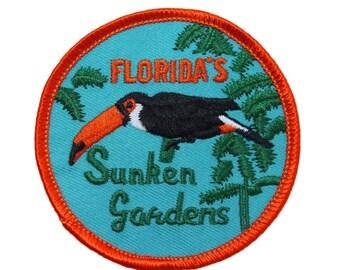 "Florida ""Sunken Gardens"" Patch Botanical Park Travel Souvenir Iron-On Applique"