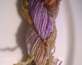 Handspun Yarn: 2 Ply Pigtails in Lavenders and Khaki