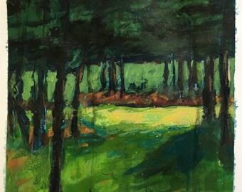 acrylic landscape painting 'sunny spot', Tree Painting, Sunshine Painting, Forest Painting