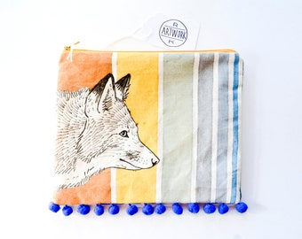 One-of-a-kind Hand Painted Fox Clutch