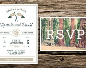 Redwoods Camp Wedding Invitation & Vintage Postcard RSVP // Camp-Inspired Invitation Forest Outdoors Summer Camp Green Khaki California