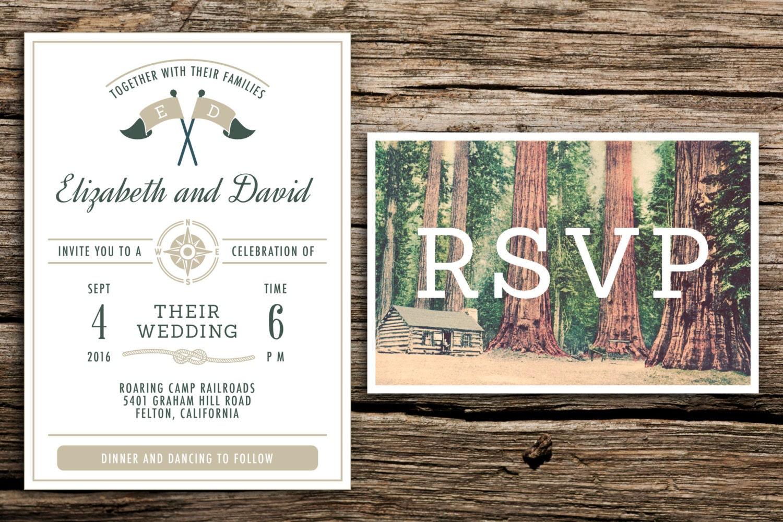Camping Wedding Invitations: Redwoods Camp Wedding Invitation & Vintage Postcard RSVP