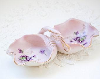 Vintage Divided Candy Dish, Lavender and Purple violets