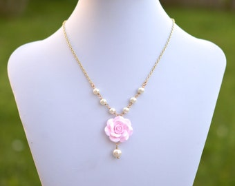 Light Pink Rose Necklace, Pink Flower Necklace, Pink Bridesmaid Necklace, Pink Rose Flower Jewelry