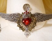 Red Heart Necklace, Wings & Silver Spoon, Valentines Day Gift Gold Mandala Garnet Red, Harley Davidson Harley Quinn Steampunk Queen, Cosplay