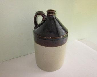 Antique Vintage 2-Tone Brown Stoneware Jug