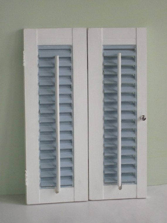 Pair Small Shabby Painted Louvered Wood Shutters