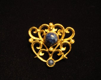 Vintage Gold and Blue Stone Brooch From The 1980s