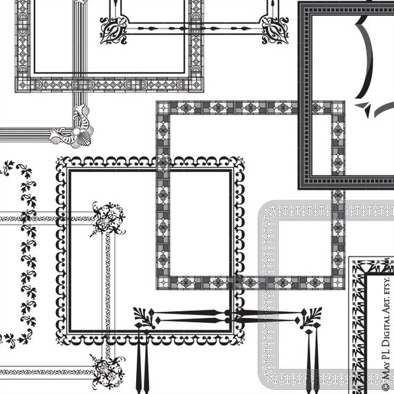Square Frames Clipart Clip Art Retro Square Ornate Digital Frames Unique Borders Transparent Middle COMMERCIAL Use Vector Files 10106