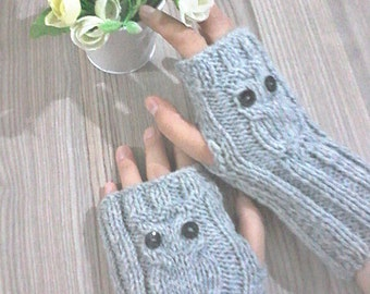 Owl Gloves, Owl gifts, Fingerless Gloves, Cute, Mittens, Grey Fingerless Gloves, Christmas Gifts, Women Accessories,