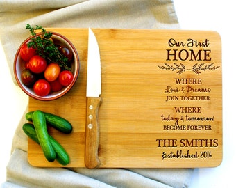 Personalized Cutting Board, Custom Cutting Board, Housewarming gift, Our First Home, Closing Gift, New Home Gift