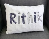 Gray Personalized Name Pillow Cover 12 x 16