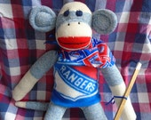 New York Rangers Hockey Sock Monkey Doll With Stick And Puck