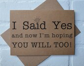 I SAID YES I'm hoping you will too will you be my bridesmaid card bridal cards funny bridesmaid cards kraft wedding be my bridesmaid card