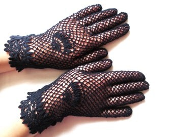 NEW. Elegant irish lace gloves,dark blue vintage gloves,crochet jewelry,romantic wedding,mother of bride,victorian style gloves,gift for Her