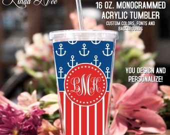 Monogrammed Acrylic Tumbler, Personalized Cup, Monogrammed Acrylic Cup with Straw, Monogram Gift, Personalized Gift, Summer Bridesmaid TM4