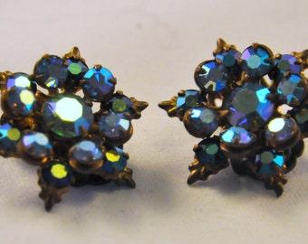 Vintage Blue Aurora Borealis Star / Snowflake Earrings - Wonderful