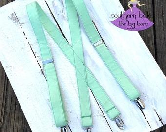 Mint Suspenders, Ring Bearer Suspenders, Boys Suspenders, Baby Suspenders,Toddler Suspenders, Mint Green Suspenders, Suspenders for Boys