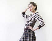 Vintage TED BAKER brown beige horizontal striped wool polka dot silk back cardigan sweater top