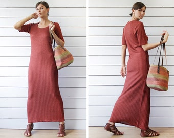Vintage rust red shiny metal thread ribbed knit short sleeve fitted maxi dress S