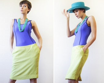 Lime green linen rayon pocketed mid waist pencil midi skirt 8
