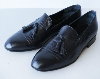FRATELLI ROSSETTI vintage Italian hand made black leather tassel leisure loafer men summer shoes