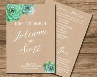 Succulent Wedding Program, Ceremony Program, Booklet style - PRINTABLE files - watercolor succulent, watercolor - Julianne