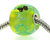"Big Lampwork glass bead European Charm Focal bead ""Blooming"" Sterling silver core big hole 16 By Shirley"