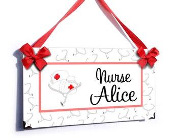 personalized school nurse office hanging door sign - stethoscope health medical room plaque - P2523