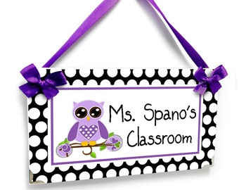 personalized teacher name classroom door signs - black and white polka dots - purple owl themed kindergarten class wall plaque - P214