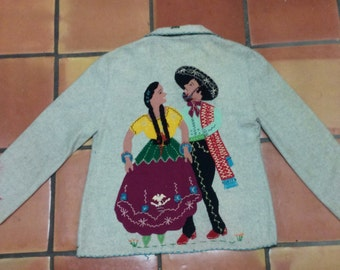 Vintage 1940's Mexican Tourist Jacket - unusual Heather Gray