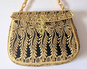 Black and Gold Evening Purse Embroidered