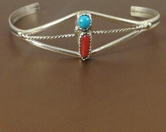 Navajo Sterling Silver Multi-colored Cuff Bracelet