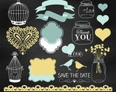 70% SALE Wedding clipart, chalkboard wedding clip art, aqua and gold wedding clipart, vector EPS - INSTANT Download
