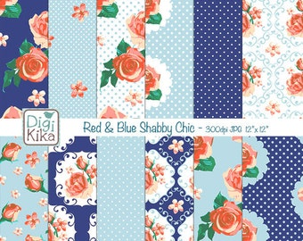 Red and Blue Shabby Chic Digital Papers, Shabby Chic Scrapbook Papers - design, invitations, paper craft - INSTANT DOWNLOAD