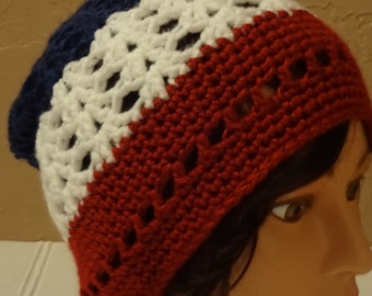 Adult Red, White, Blue Beanie